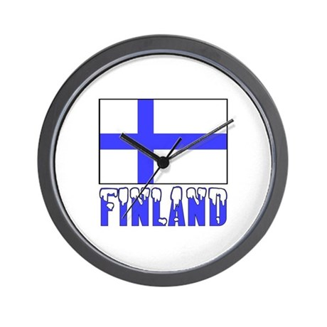 Finland Flag Name Snow Wall Clock
