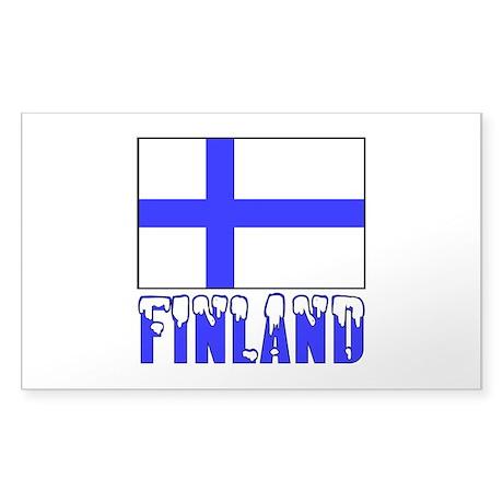Finland Flag Name Snow Sticker (Rectangle)