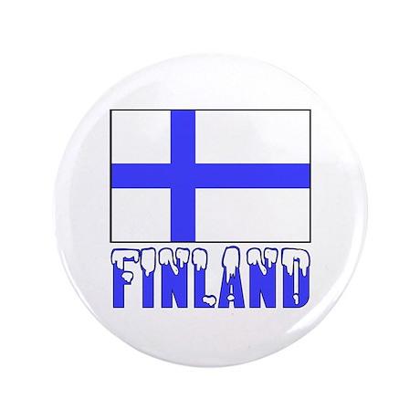 """Finland Flag Name Snow 3.5"""" Button"""