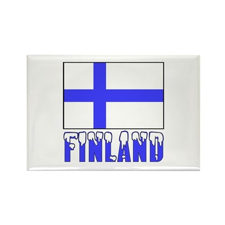 Finland Flag Name Snow Rectangle Magnet (10 pack)