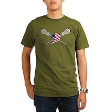 American Flag Lacrosse Helmet T-Shirt