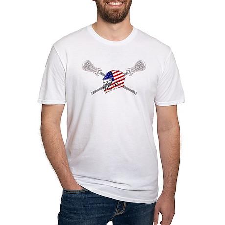 American Flag Lacrosse Helmet Fitted T-Shirt