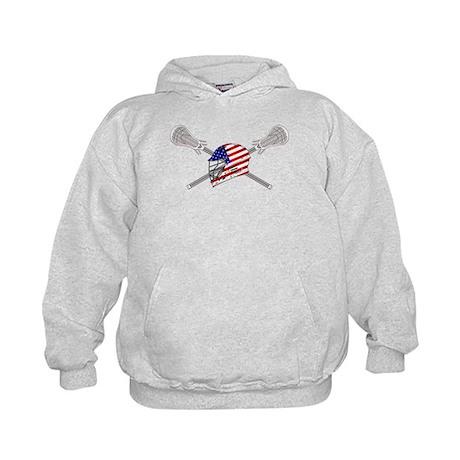American Flag Lacrosse Helmet Kids Hoodie