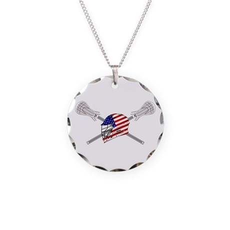 American Flag Lacrosse Helmet Necklace Circle Char
