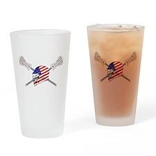American Flag Lacrosse Helmet Drinking Glass