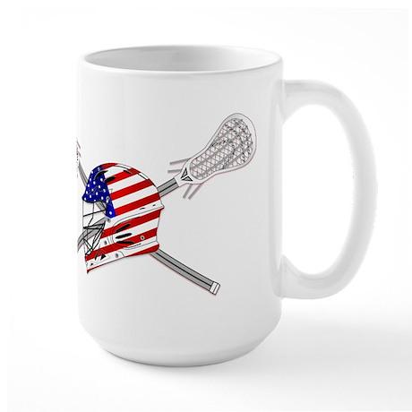 American Flag Lacrosse Helmet Large Mug
