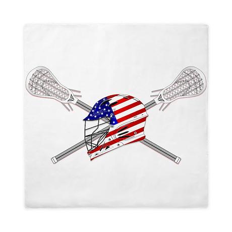 American Flag Lacrosse Helmet Queen Duvet