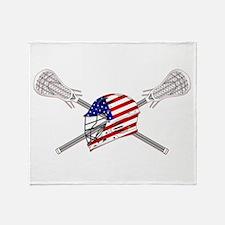 American Flag Lacrosse Helmet Throw Blanket