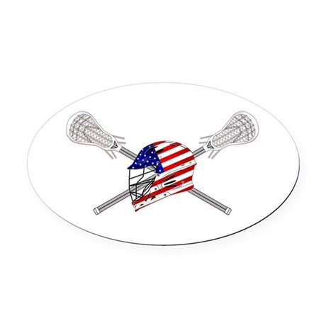 American Flag Lacrosse Helmet Oval Car Magnet