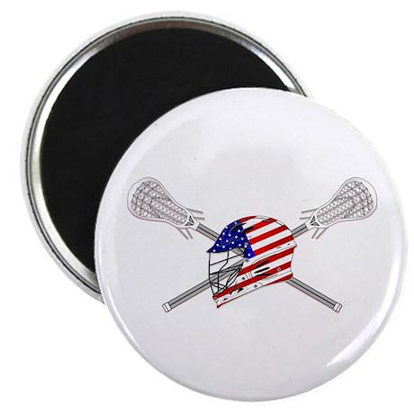 """American Flag Lacrosse Helmet 2.25"""" Magnet (10 pac"""