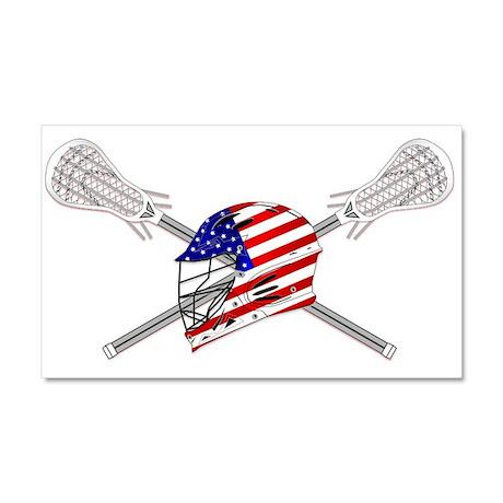 American Flag Lacrosse Helmet Car Magnet 20 x 12