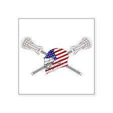 "American Flag Lacrosse Helmet Square Sticker 3"" x"