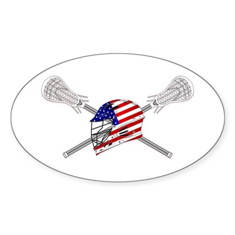 American Flag Lacrosse Helmet Sticker (Oval)