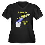 Dob Fan Women's Plus Size V-Neck Dark T-Shirt