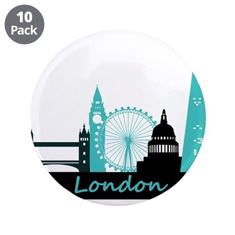 "London landmarks 3.5"" Button (10 pack)"