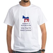 Annoy A Republican Use Facts And Logic - White Tee