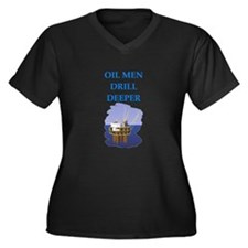 OIL men Women's Plus Size V-Neck Dark T-Shirt
