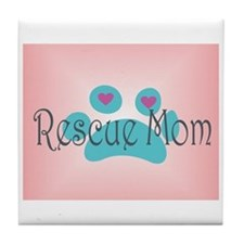 Rescue Mom with hearts and background Tile Coaster
