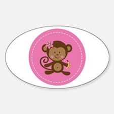 Monkey Girl - Pink Sticker (Oval)