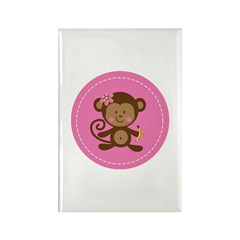 Monkey Girl - Pink Rectangle Magnet (10 pack)