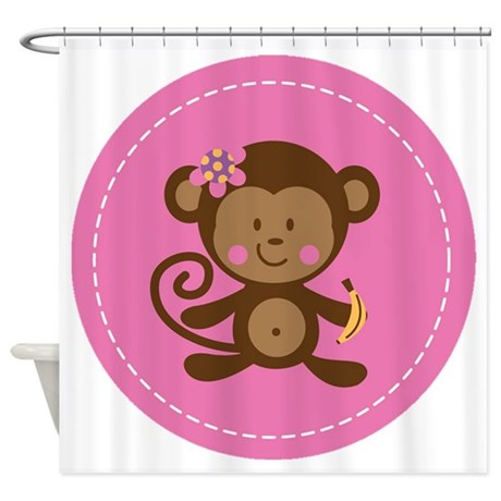 Monkey Girl - Pink Shower Curtain