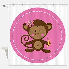 Monkey Girl - Pink Shower Curtain