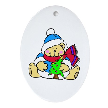 Christmas Polar Bear Ornament (Oval)