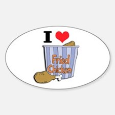 I Heart (Love) Fried Chicken Oval Decal