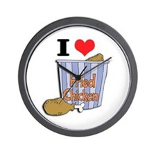I Heart (Love) Fried Chicken Wall Clock