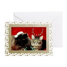 Vintage Cats Christmas Greeting Card