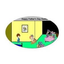 Fathers_Day_Kids Oval Car Magnet