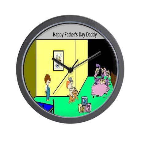 Fathers_Day_Kids Wall Clock by BearCharmsandMore