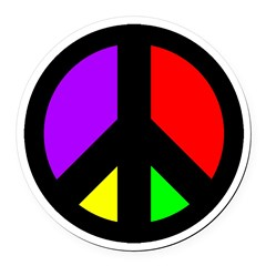 Colorful Peace Sign Round Car Magnet