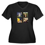 Famous Goldens (cl) Women's Plus Size V-Neck Dark