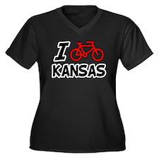I Love Cycling Kansas Women's Plus Size V-Neck Dar