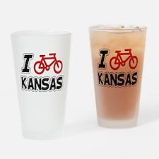 I Love Cycling Kansas Drinking Glass