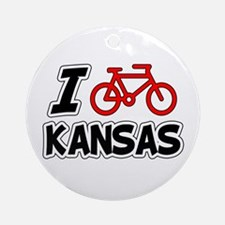 I Love Cycling Kansas Ornament (Round)