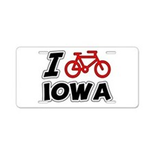 I Love Cycling Iowa Aluminum License Plate