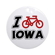 I Love Cycling Iowa Ornament (Round)