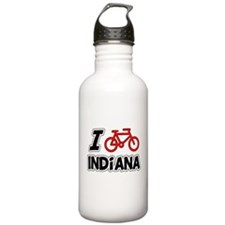 I Love Cycling Indiana Water Bottle