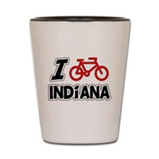I Love Cycling Indiana Shot Glass