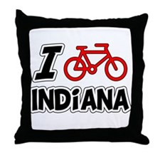I Love Cycling Indiana Throw Pillow