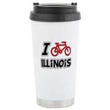 I Love Cycling Illinois Travel Mug