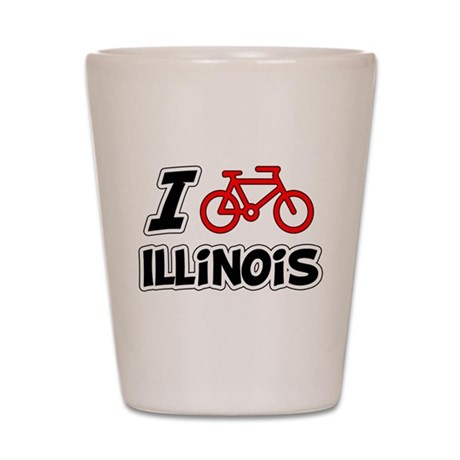I Love Cycling Illinois Shot Glass