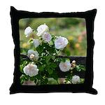 Romantic White Rose Throw Pillow