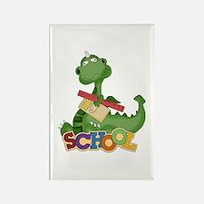 Cute Green School Dragon Rectangle Magnet