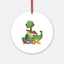 Cute Green School Dragon Ornament (Round)
