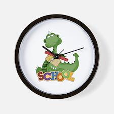 Cute Green School Dragon Wall Clock