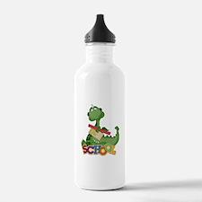 Cute Green School Dragon Sports Water Bottle