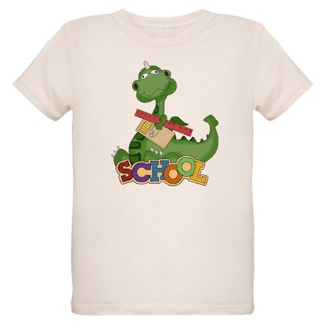 Cute Green School Dragon Organic Kids T-Shirt